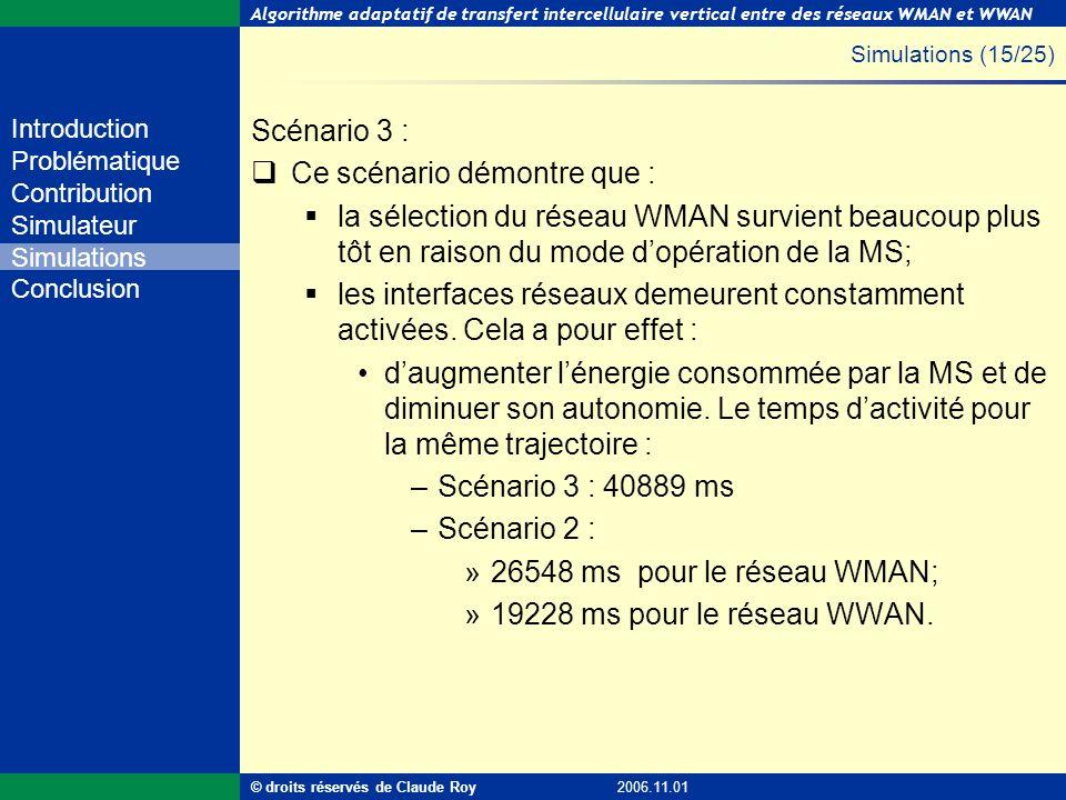 Algorithme adaptatif de transfert intercellulaire vertical entre des réseaux WMAN et WWAN 42 de 55 Introduction Problématique Contribution Simulateur