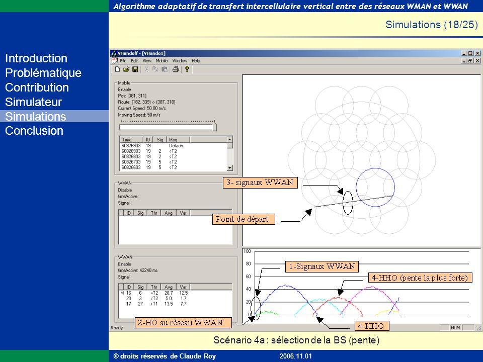 Algorithme adaptatif de transfert intercellulaire vertical entre des réseaux WMAN et WWAN 45 de 55 Introduction Problématique Contribution Simulateur