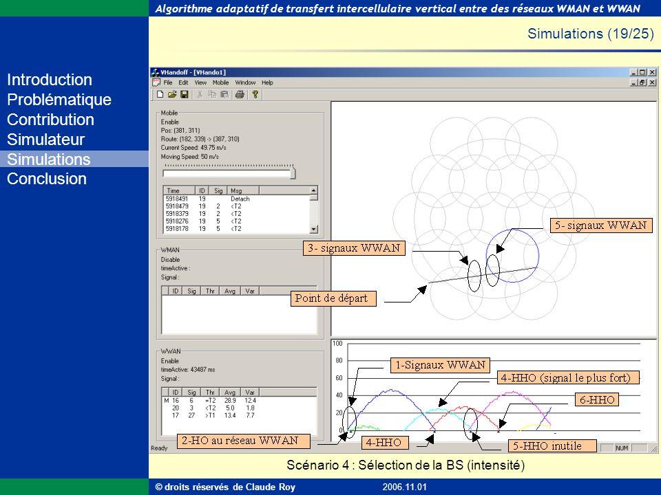 Algorithme adaptatif de transfert intercellulaire vertical entre des réseaux WMAN et WWAN 46 de 55 Introduction Problématique Contribution Simulateur
