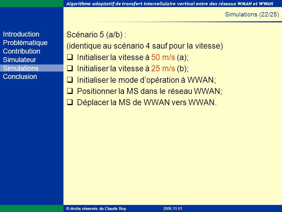 Algorithme adaptatif de transfert intercellulaire vertical entre des réseaux WMAN et WWAN 49 de 55 Introduction Problématique Contribution Simulateur