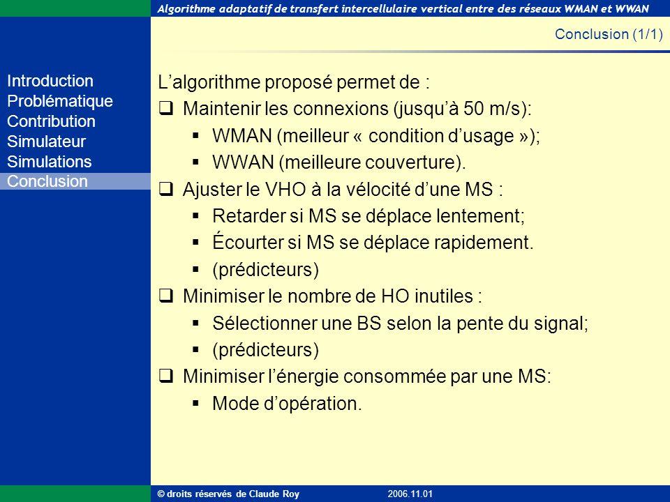 Algorithme adaptatif de transfert intercellulaire vertical entre des réseaux WMAN et WWAN 54 de 55 Introduction Problématique Contribution Simulateur