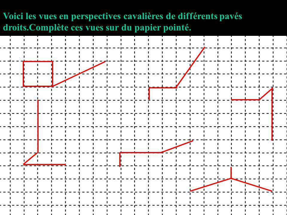 Voici les vues en perspectives cavalières de différents pavés droits.Complète ces vues sur du papier pointé.