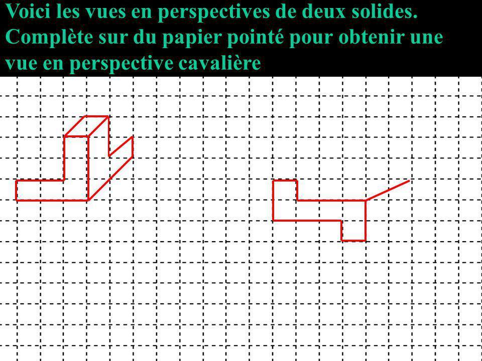 Voici les vues en perspectives de deux solides.