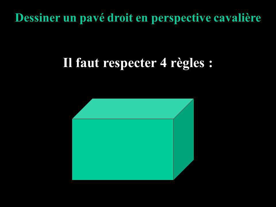 Dessiner un pavé droit en perspective cavalière Il faut respecter 4 règles :