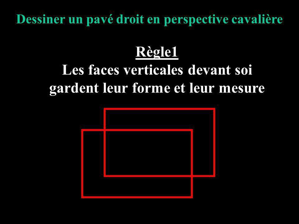Dessiner un pavé droit en perspective cavalière Règle1 Les faces verticales devant soi gardent leur forme et leur mesure