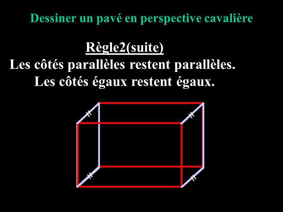 Dessiner un pavé en perspective cavalière Règle3 Les mesures des arêtes perpendiculaires à la face avant sont réduites pour tenir compte de ce que lœil voit dans la réalité.