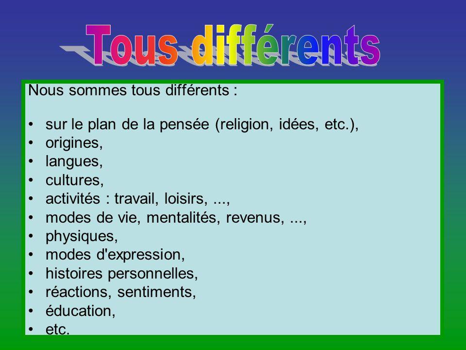 Nous sommes tous différents : sur le plan de la pensée (religion, idées, etc.), origines, langues, cultures, activités : travail, loisirs,..., modes d