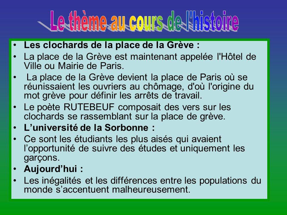 Les clochards de la place de la Grève : La place de la Grève est maintenant appelée l'Hôtel de Ville ou Mairie de Paris. La place de la Grève devient