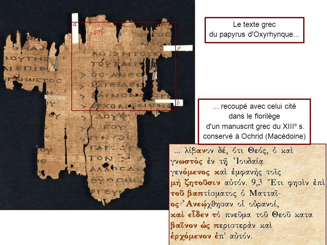 Le texte grec du papyrus d Oxyrhynque......