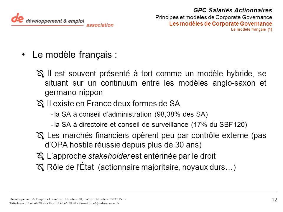 Le modèle français : Ô Il est souvent présenté à tort comme un modèle hybride, se situant sur un continuum entre les modèles anglo-saxon et germano-ni