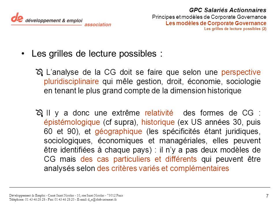 Les grilles de lecture possibles : Ô Lanalyse de la CG doit se faire que selon une perspective pluridisciplinaire qui mêle gestion, droit, économie, s