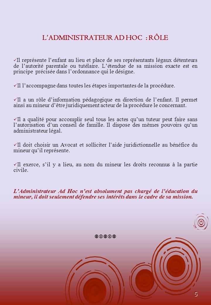 6 LADMINISTRATEUR AD HOC : SA RESPONSABILITE En matière Civile Sa responsabilité civile peut être engagée sur la base : - dun défaut de pouvoir, - dun préjudice intentionnel causé à lenfant, - dun défaut de savoir-faire.