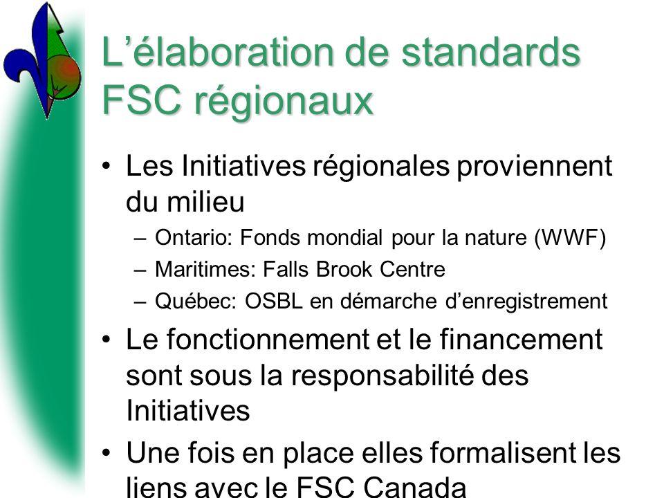 Lélaboration de standards FSC régionaux Les Initiatives régionales proviennent du milieu –Ontario: Fonds mondial pour la nature (WWF) –Maritimes: Falls Brook Centre –Québec: OSBL en démarche denregistrement Le fonctionnement et le financement sont sous la responsabilité des Initiatives Une fois en place elles formalisent les liens avec le FSC Canada