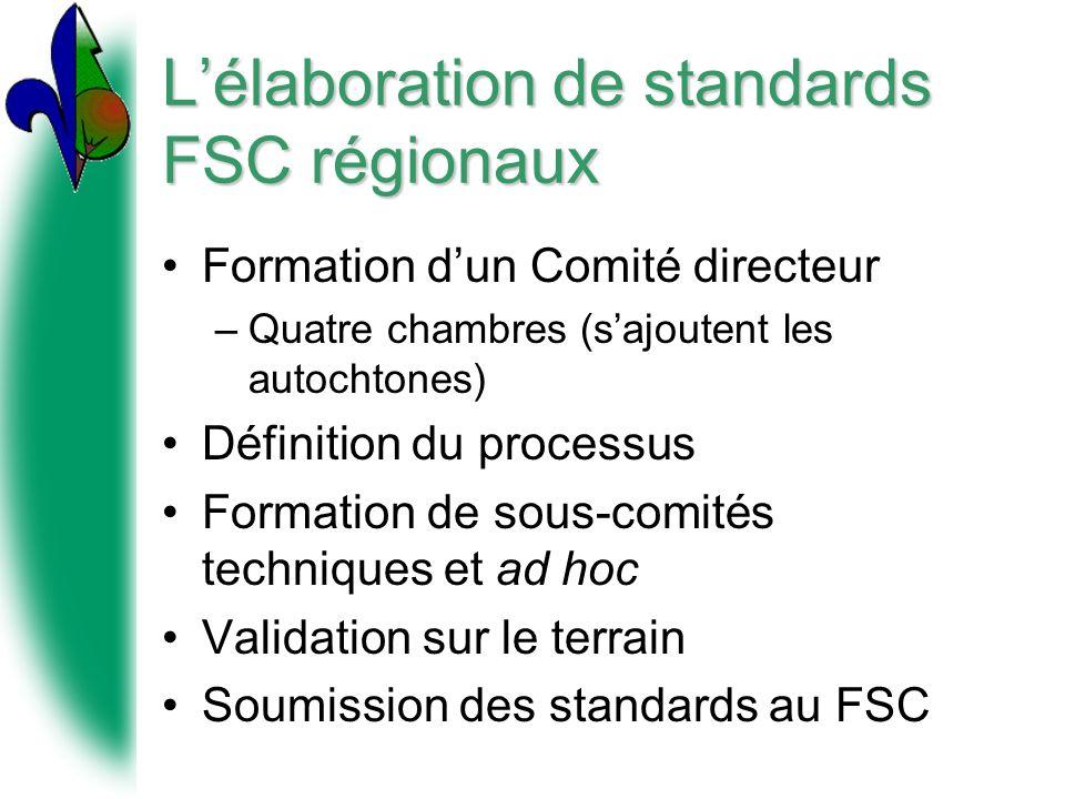 Lélaboration de standards FSC régionaux Formation dun Comité directeur –Quatre chambres (sajoutent les autochtones) Définition du processus Formation de sous-comités techniques et ad hoc Validation sur le terrain Soumission des standards au FSC