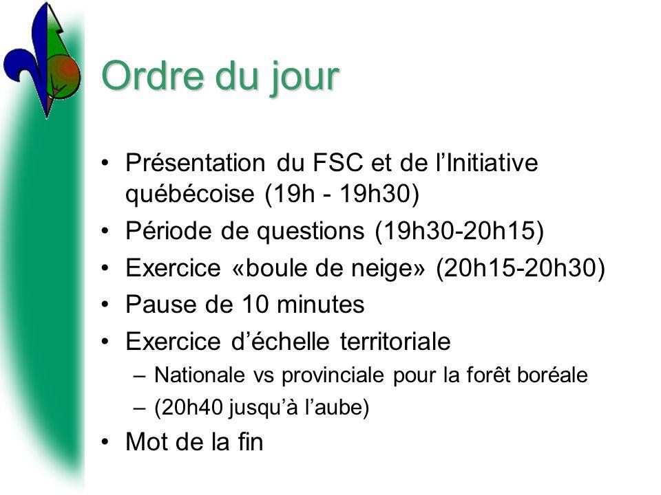 Ordre du jour Présentation du FSC et de lInitiative québécoise (19h - 19h30) Période de questions (19h30-20h15) Exercice «boule de neige» (20h15-20h30) Pause de 10 minutes Exercice déchelle territoriale –Nationale vs provinciale pour la forêt boréale –(20h40 jusquà laube) Mot de la fin