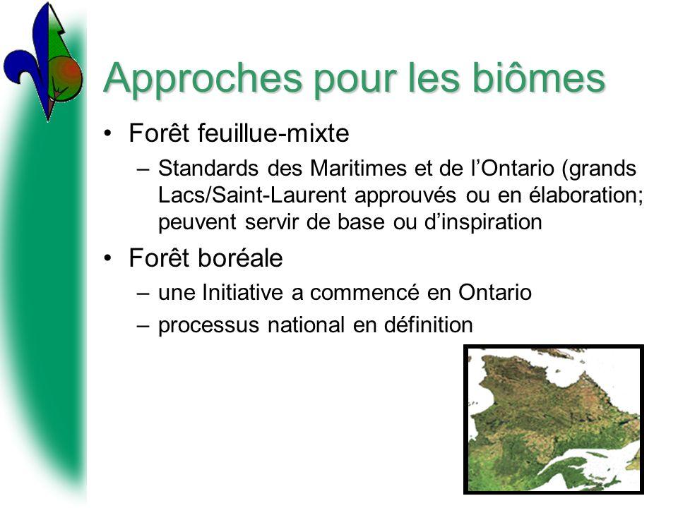 Approches pour les biômes Forêt feuillue-mixte –Standards des Maritimes et de lOntario (grands Lacs/Saint-Laurent approuvés ou en élaboration; peuvent servir de base ou dinspiration Forêt boréale –une Initiative a commencé en Ontario –processus national en définition