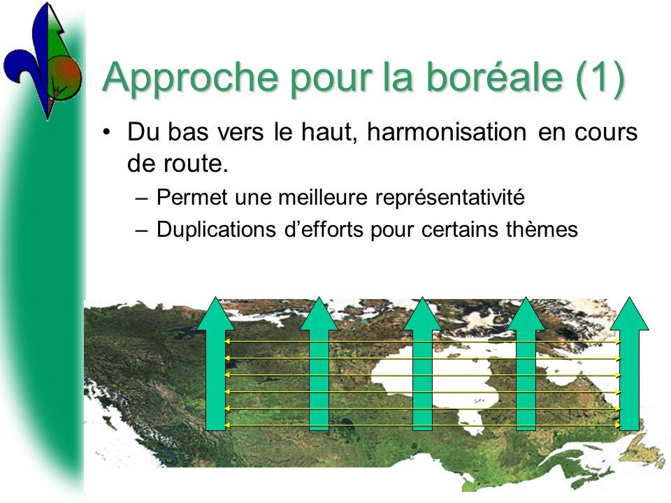 Approche pour la boréale (1) Du bas vers le haut, harmonisation en cours de route. –Permet une meilleure représentativité –Duplications defforts pour