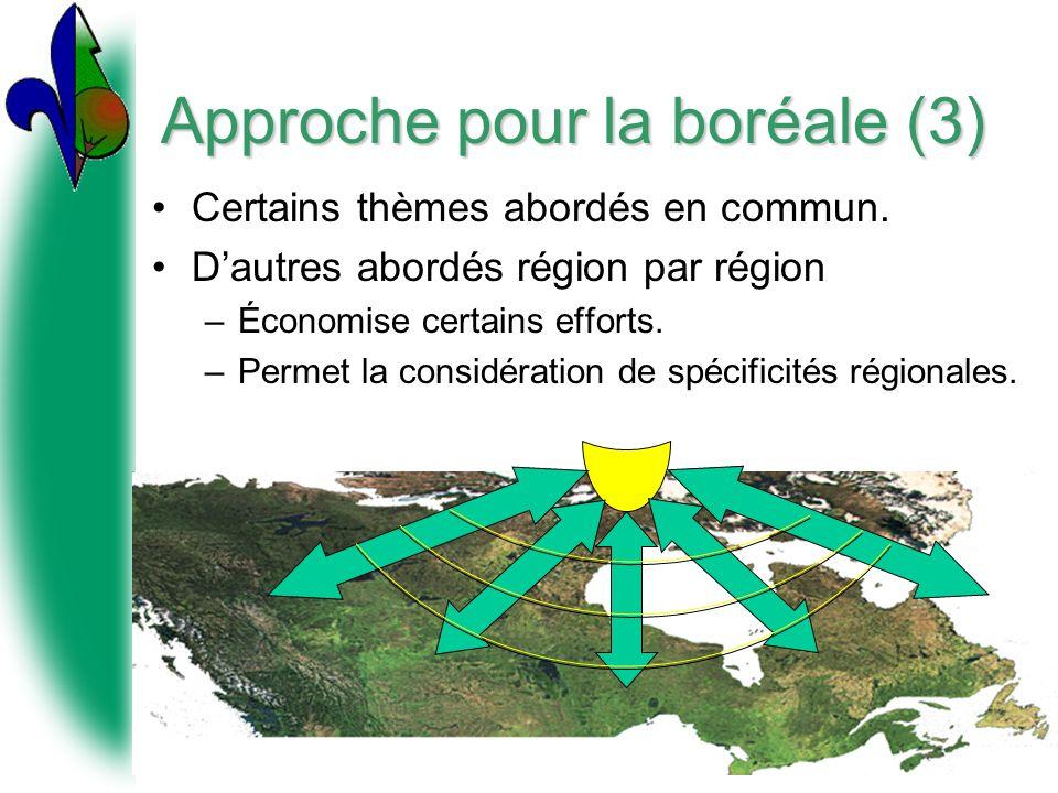 Approche pour la boréale (3) Certains thèmes abordés en commun. Dautres abordés région par région –Économise certains efforts. –Permet la considératio