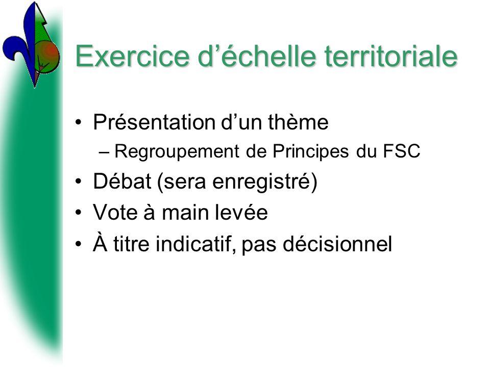 Exercice déchelle territoriale Présentation dun thème –Regroupement de Principes du FSC Débat (sera enregistré) Vote à main levée À titre indicatif, pas décisionnel