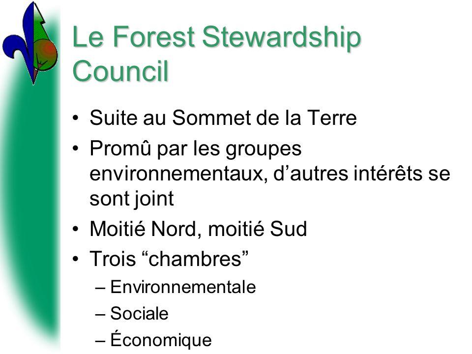 Le Forest Stewardship Council Suite au Sommet de la Terre Promû par les groupes environnementaux, dautres intérêts se sont joint Moitié Nord, moitié Sud Trois chambres –Environnementale –Sociale –Économique