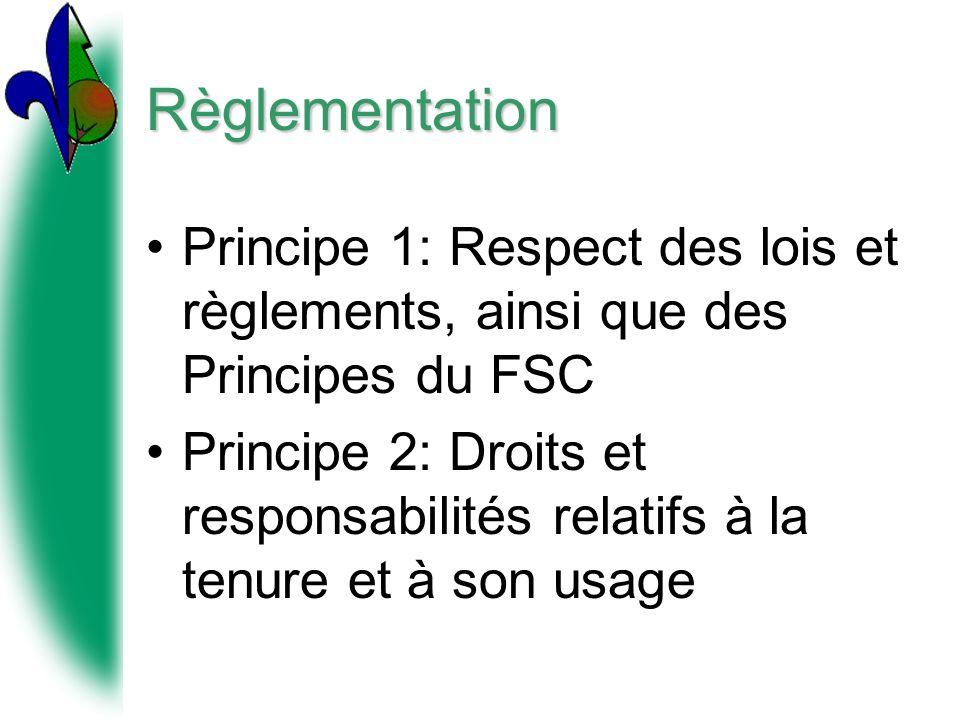 Règlementation Principe 1: Respect des lois et règlements, ainsi que des Principes du FSC Principe 2: Droits et responsabilités relatifs à la tenure et à son usage