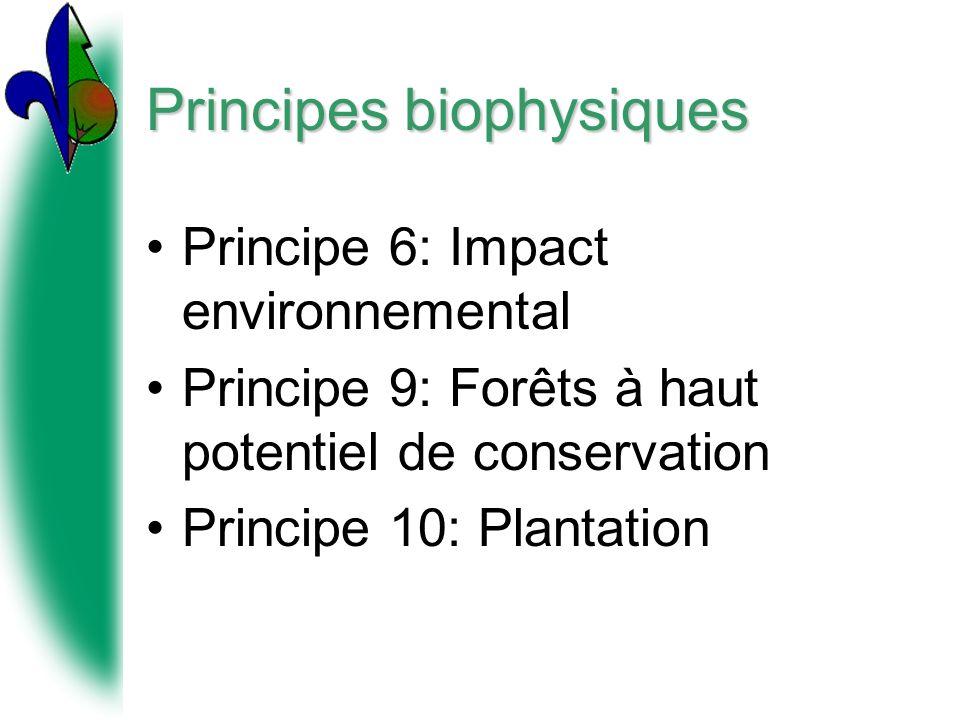 Principes biophysiques Principe 6: Impact environnemental Principe 9: Forêts à haut potentiel de conservation Principe 10: Plantation