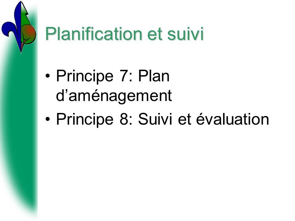 Planification et suivi Principe 7: Plan daménagement Principe 8: Suivi et évaluation