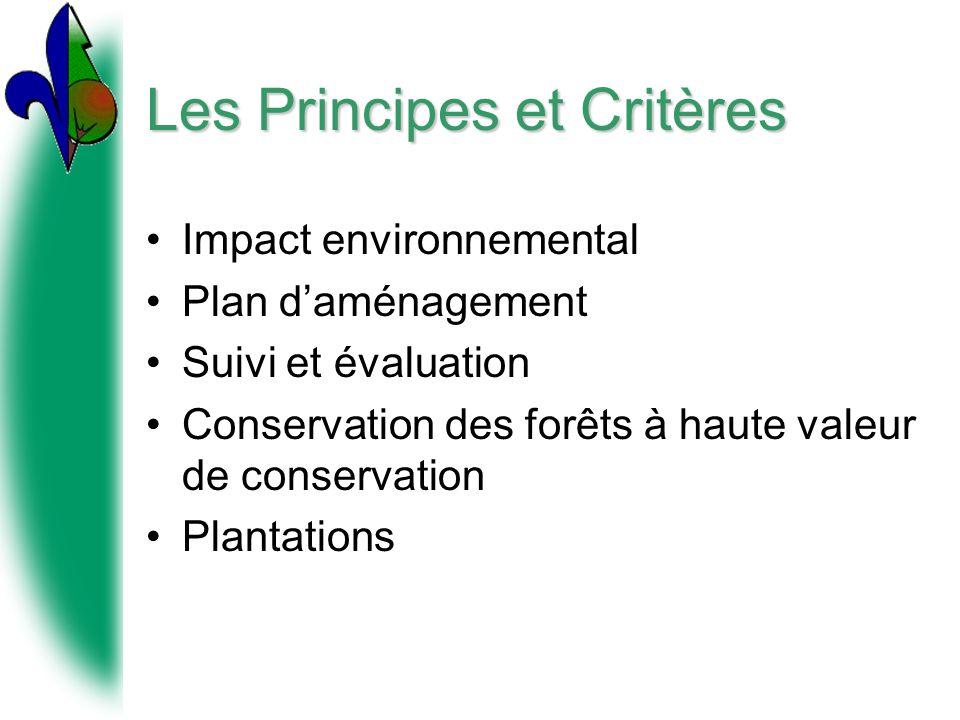 Les Principes et Critères Impact environnemental Plan daménagement Suivi et évaluation Conservation des forêts à haute valeur de conservation Plantations