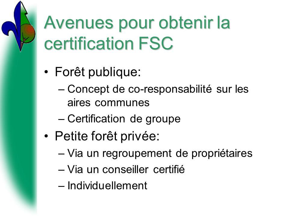 Avenues pour obtenir la certification FSC Forêt publique: –Concept de co-responsabilité sur les aires communes –Certification de groupe Petite forêt privée: –Via un regroupement de propriétaires –Via un conseiller certifié –Individuellement