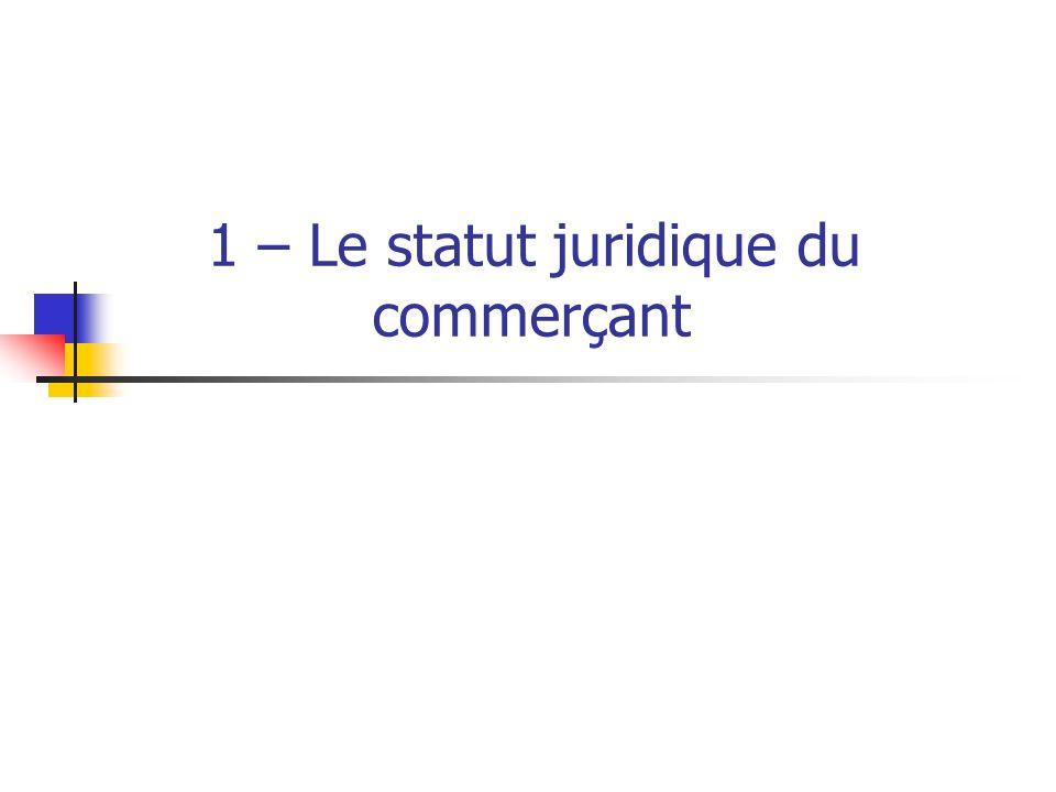 I.L ACCES AU STATUT DE COMMERCANT A. Définition du commerçant B.