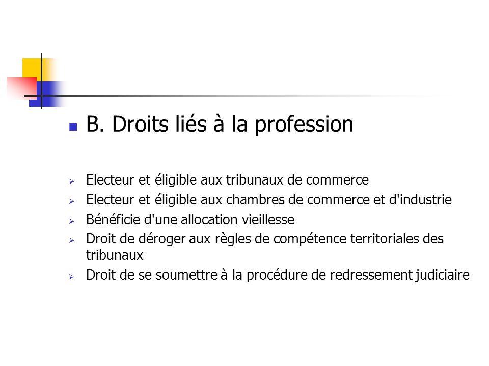 B. Droits liés à la profession Electeur et éligible aux tribunaux de commerce Electeur et éligible aux chambres de commerce et d'industrie Bénéficie d