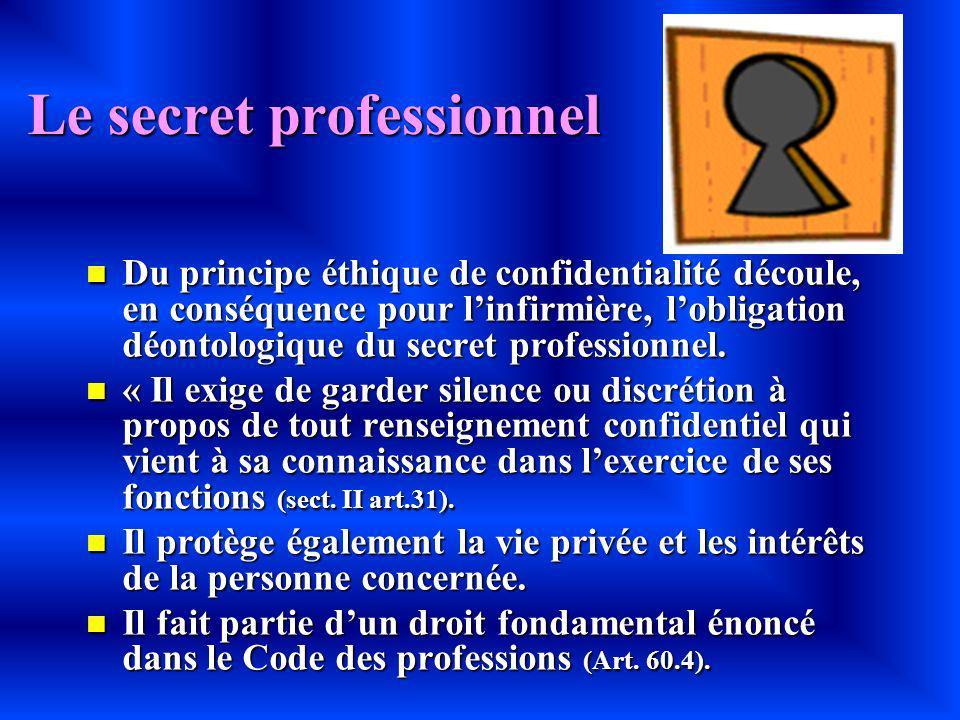 Le secret professionnel Du principe éthique de confidentialité découle, en conséquence pour linfirmière, lobligation déontologique du secret professio
