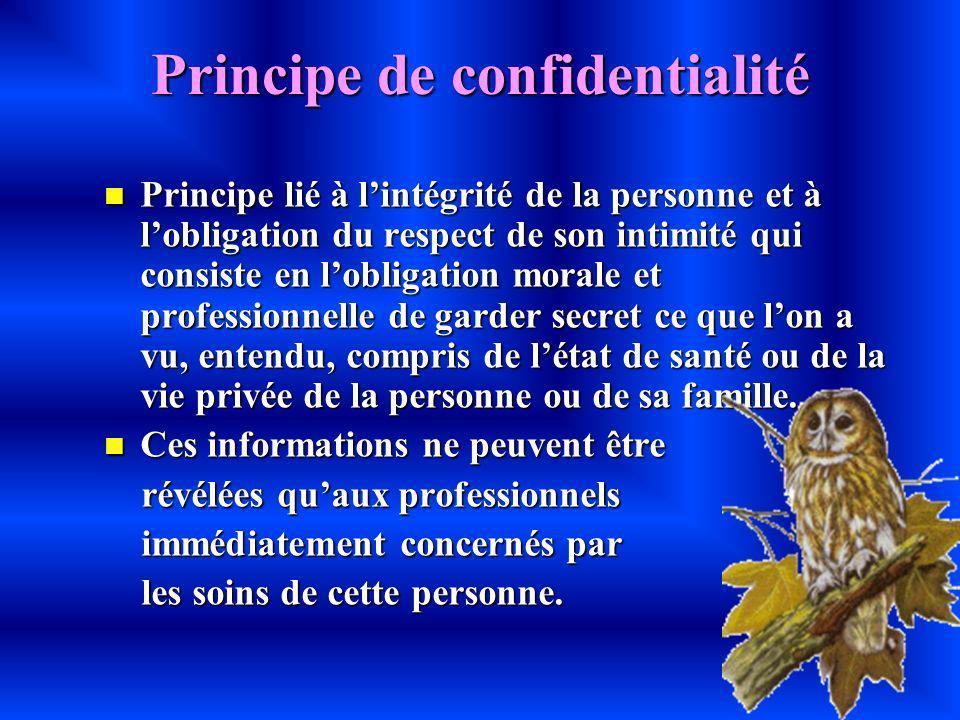 Principe de confidentialité Principe lié à lintégrité de la personne et à lobligation du respect de son intimité qui consiste en lobligation morale et