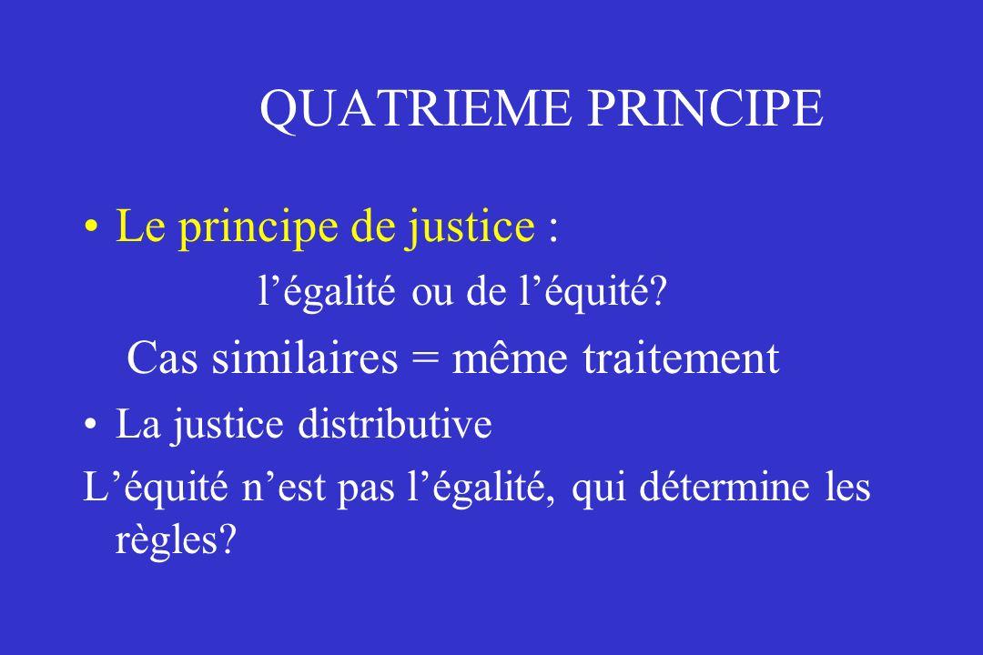 QUATRIEME PRINCIPE Le principe de justice : légalité ou de léquité? Cas similaires = même traitement La justice distributive Léquité nest pas légalité
