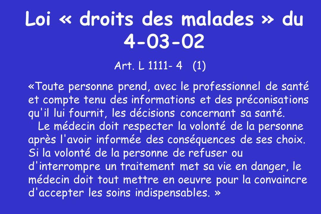 Loi « droits des malades » du 4-03-02 Art. L 1111- 4 (1) «Toute personne prend, avec le professionnel de santé et compte tenu des informations et des