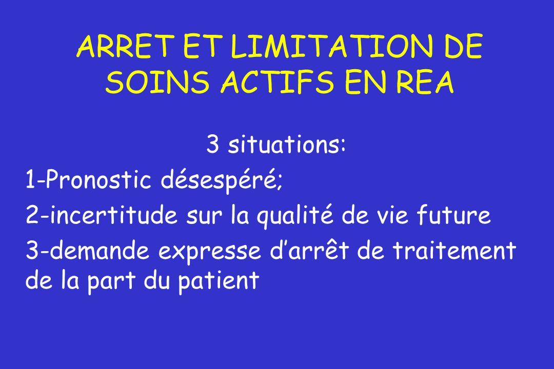 ARRET ET LIMITATION DE SOINS ACTIFS EN REA 3 situations: 1-Pronostic désespéré; 2-incertitude sur la qualité de vie future 3-demande expresse darrêt d