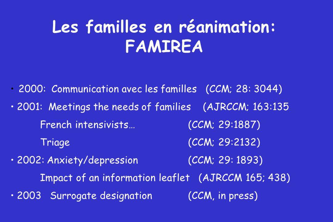 Les familles en réanimation: FAMIREA 2000: Communication avec les familles (CCM; 28: 3044) 2001: Meetings the needs of families (AJRCCM; 163:135 Frenc