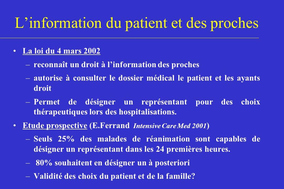 Linformation du patient et des proches La loi du 4 mars 2002 –reconnaît un droit à linformation des proches –autorise à consulter le dossier médical l