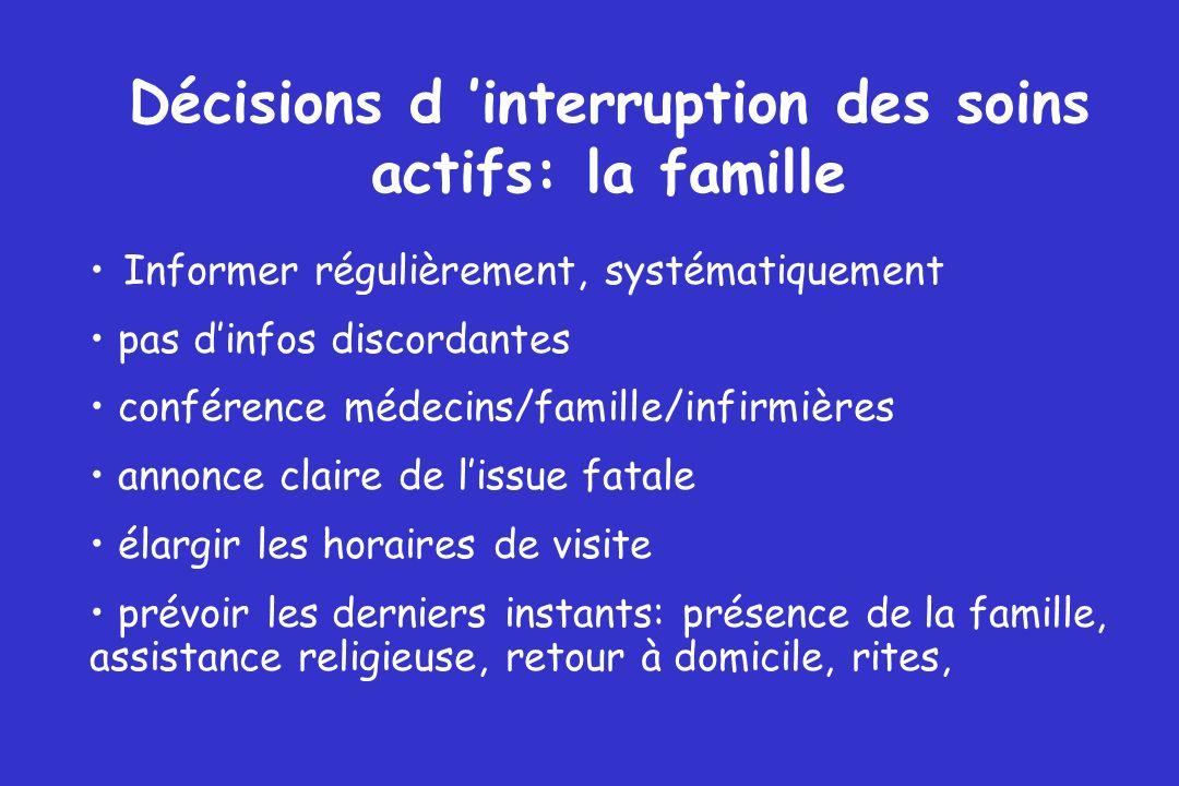 Décisions d interruption des soins actifs: la famille Informer régulièrement, systématiquement pas dinfos discordantes conférence médecins/famille/inf