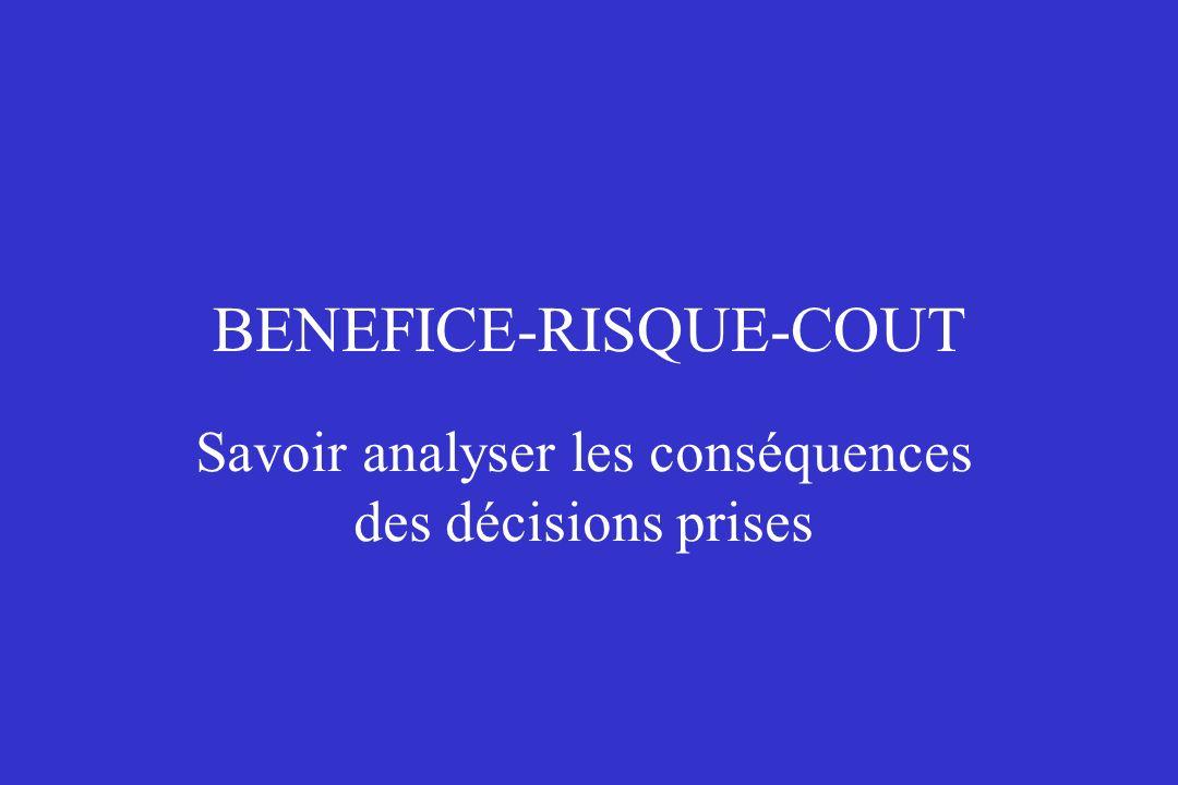 BENEFICE-RISQUE-COUT Savoir analyser les conséquences des décisions prises