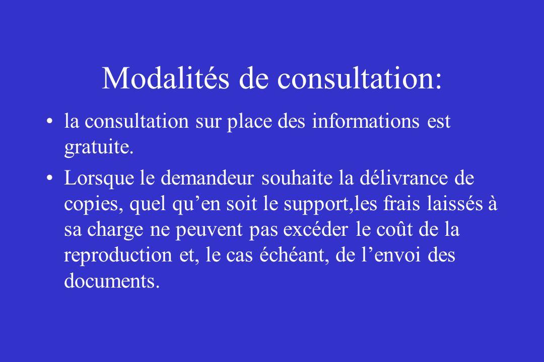 Modalités de consultation: la consultation sur place des informations est gratuite. Lorsque le demandeur souhaite la délivrance de copies, quel quen s