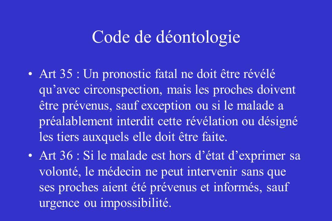 Code de déontologie Art 35 : Un pronostic fatal ne doit être révélé quavec circonspection, mais les proches doivent être prévenus, sauf exception ou s