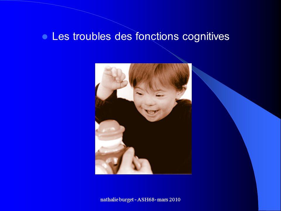 nathalie burget - ASH68- mars 2010 Les troubles des fonctions cognitives