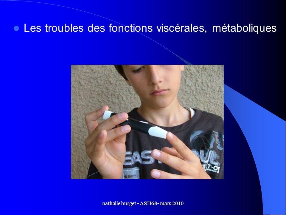 nathalie burget - ASH68- mars 2010 Les troubles des fonctions viscérales, métaboliques