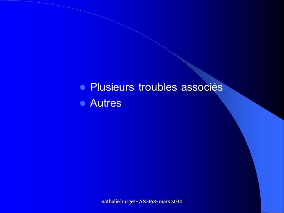 nathalie burget - ASH68- mars 2010 Plusieurs troubles associés Autres