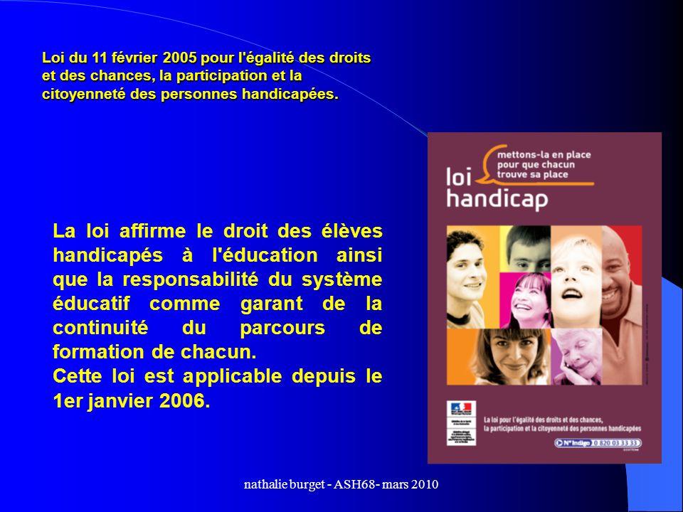 Loi du 11 février 2005 pour l'égalité des droits et des chances, la participation et la citoyenneté des personnes handicapées. La loi affirme le droit