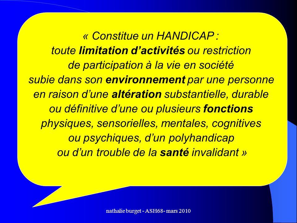 nathalie burget - ASH68- mars 2010 « Constitue un HANDICAP : toute limitation dactivités ou restriction de participation à la vie en société subie dan