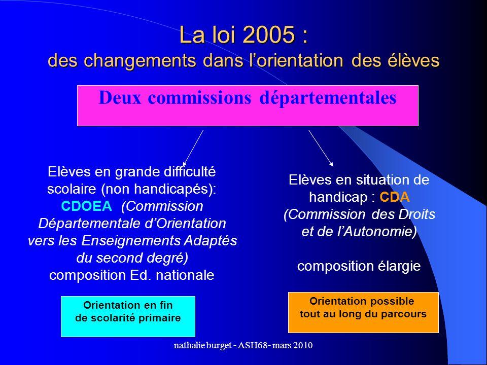 nathalie burget - ASH68- mars 2010 La loi 2005 : des changements dans lorientation des élèves Elèves en grande difficulté scolaire (non handicapés): C