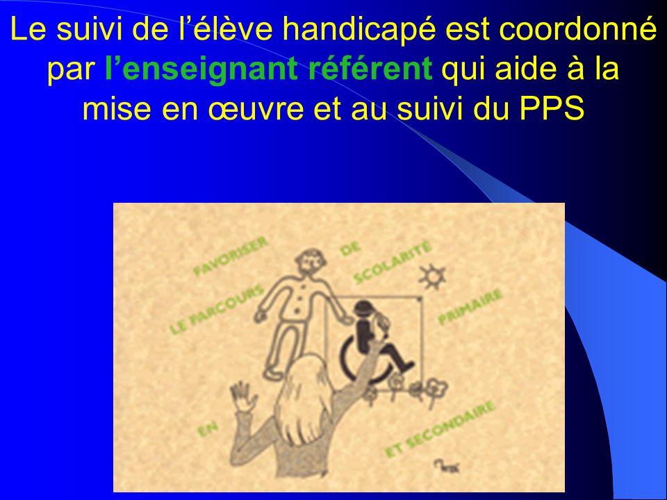 nathalie burget - ASH68- mars 2010 Le suivi de lélève handicapé est coordonné par lenseignant référent qui aide à la mise en œuvre et au suivi du PPS