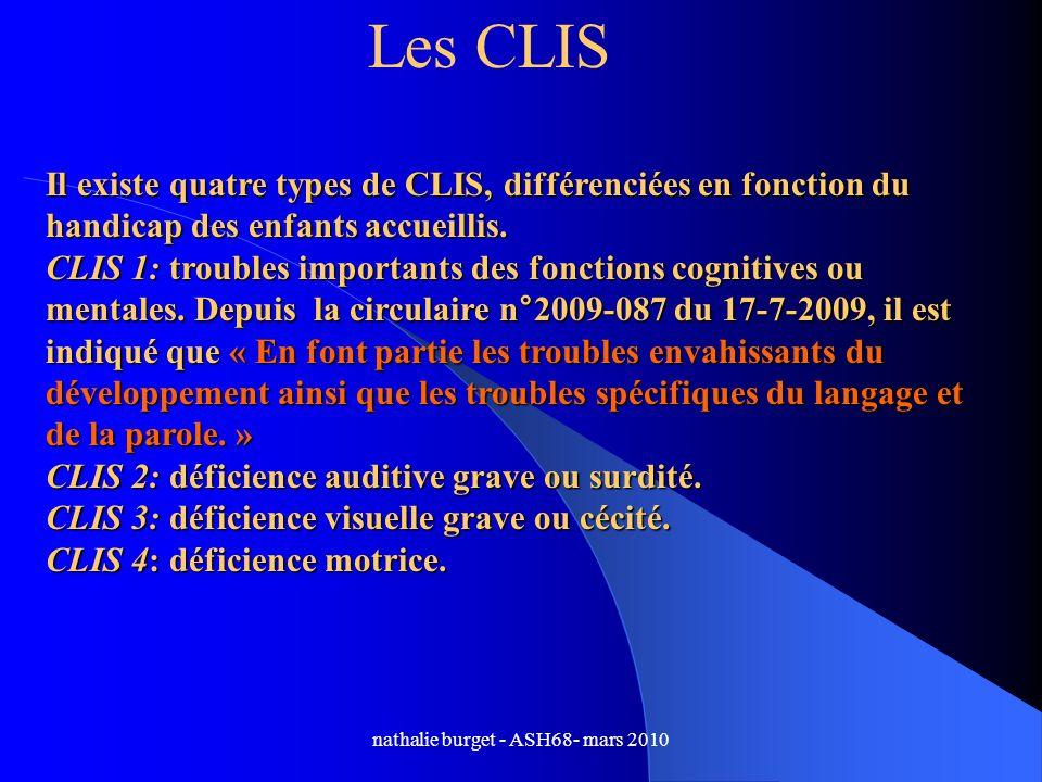 nathalie burget - ASH68- mars 2010 Les CLIS Il existe quatre types de CLIS, différenciées en fonction du handicap des enfants accueillis. CLIS 1: trou